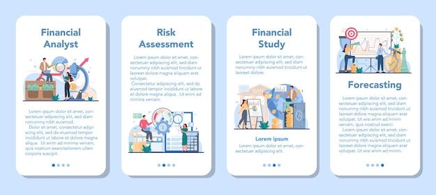 Conjunto de banner de aplicativo móvel de analista financeiro