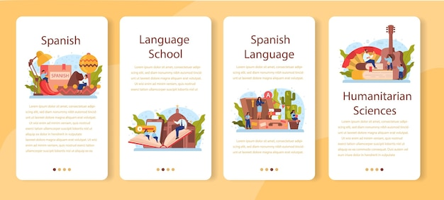 Conjunto de banner de aplicativo móvel de aprendizagem de espanhol. curso de espanhol na escola de línguas.
