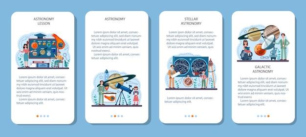 Conjunto de banner de aplicativo móvel de assunto escolar de astronomia. alunos