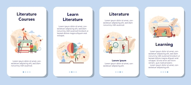 Conjunto de banner de aplicativo móvel de assunto escolar de literatura.