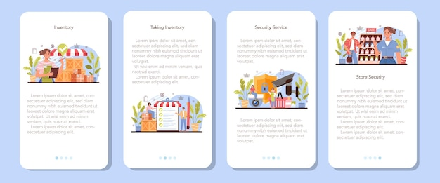 Conjunto de banner de aplicativo móvel de atividades comerciais. avaliação do empreendedor