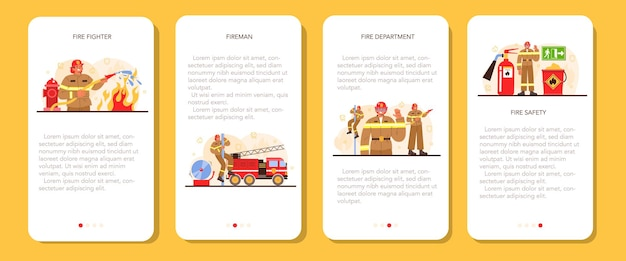 Conjunto de banner de aplicativo móvel de bombeiro. corpo de bombeiros profissional