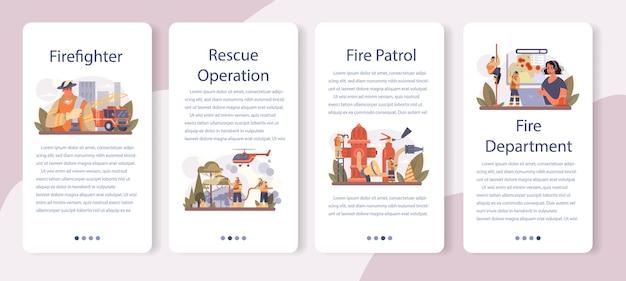 Conjunto de banner de aplicativo móvel de bombeiro