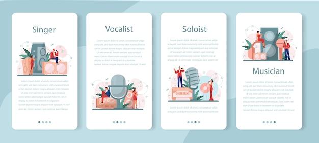 Conjunto de banner de aplicativo móvel de cantora feminina e masculina.