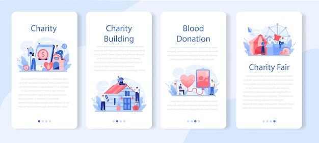 Conjunto de banner de aplicativo móvel de caridade