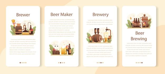 Conjunto de banner de aplicativo móvel de cervejaria.