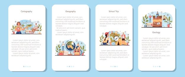 Conjunto de banner de aplicativo móvel de classe de geografia. ilustração vetorial isolada