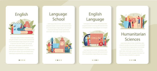 Conjunto de banner de aplicativo móvel de classe de inglês. estude línguas estrangeiras na escola ou universidade. idéia de comunicação global. estudar vocabulário estrangeiro.