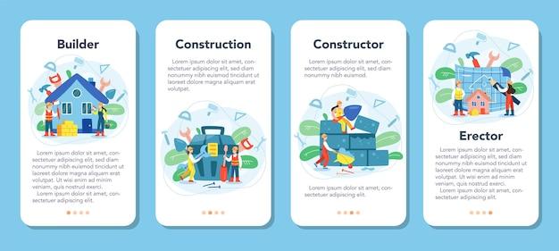 Conjunto de banner de aplicativo móvel de construção de casa.
