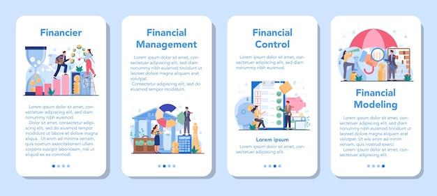 Conjunto de banner de aplicativo móvel de consultor financeiro ou financista