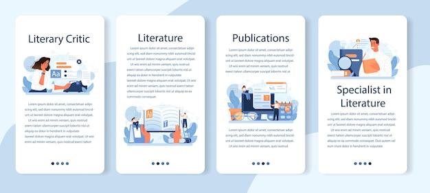 Conjunto de banner de aplicativo móvel de crítico literário. ilustração vetorial plana