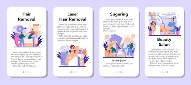 Conjunto de banner de aplicativo móvel de depilação e depilação. métodos de remoção de cabelo. idéia de cuidado e beleza do corpo e da pele. aplicação de açúcar e depilação a laser. ilustração vetorial isolada