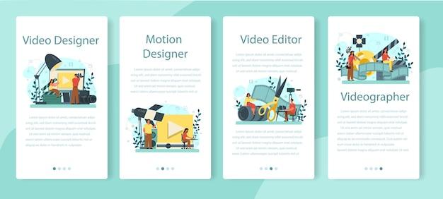 Conjunto de banner de aplicativo móvel de designer de movimento ou vídeo.