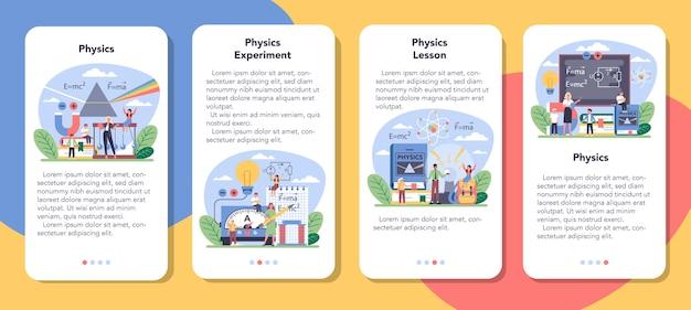 Conjunto de banner de aplicativo móvel de disciplina de física escolar
