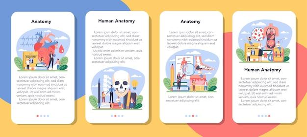 Conjunto de banner de aplicativo móvel de disciplina escolar de anatomia