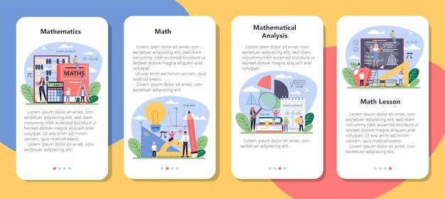Conjunto de banner de aplicativo móvel de disciplina escolar de matemática