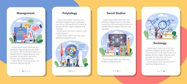 Conjunto de banner de aplicativo móvel de disciplina escolar de sociologia