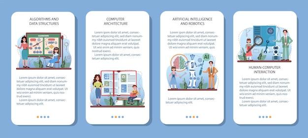 Conjunto de banner de aplicativo móvel de educação de ti. alunos aprendendo