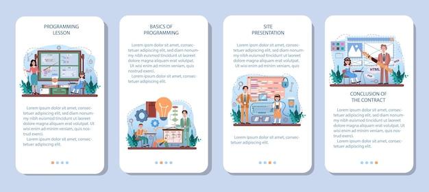 Conjunto de banner de aplicativo móvel de educação de ti. os alunos aprendem programação