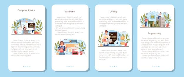 Conjunto de banner de aplicativo móvel de educação de ti. software de escrita do aluno