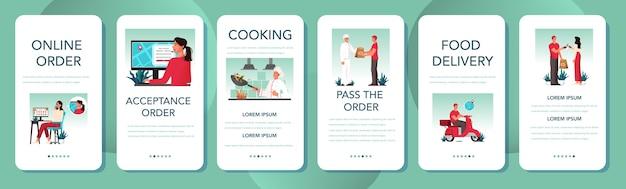 Conjunto de banner de aplicativo móvel de entrega de comida. entrega online. encomende na internet. adicione ao carrinho, pague com cartão e espere pelo correio na motocicleta.