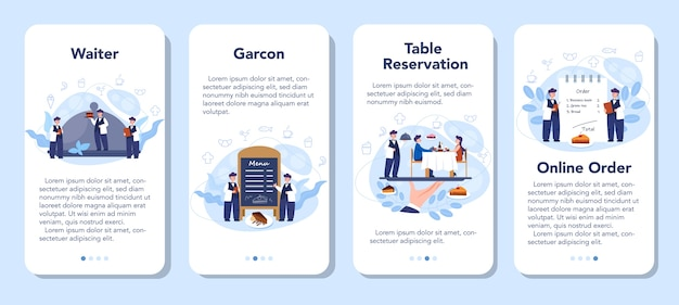 Conjunto de banner de aplicativo móvel de garçom. funcionários do restaurante de uniforme, serviço de catering. reserva de mesa e encomenda online.