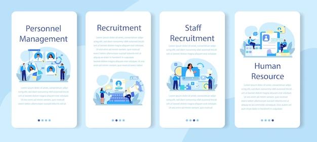 Conjunto de banner de aplicativo móvel de gerenciamento de pessoal