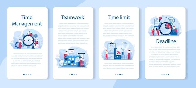 Conjunto de banner de aplicativo móvel de gerenciamento de tempo