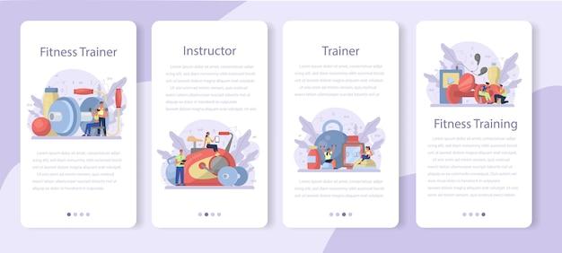 Conjunto de banner de aplicativo móvel de instrutor de fitness. treino na academia