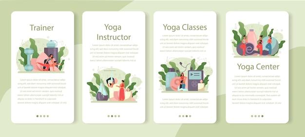 Conjunto de banner de aplicativo móvel de instrutor de ioga. asana ou exercícios para homens e mulheres. saúde física e mental. relaxamento corporal e meditação externa. Vetor Premium