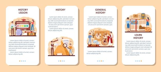 Conjunto de banner de aplicativo móvel de lição de história. matéria escolar de história