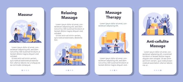 Conjunto de banner de aplicativo móvel de massagem e massagista