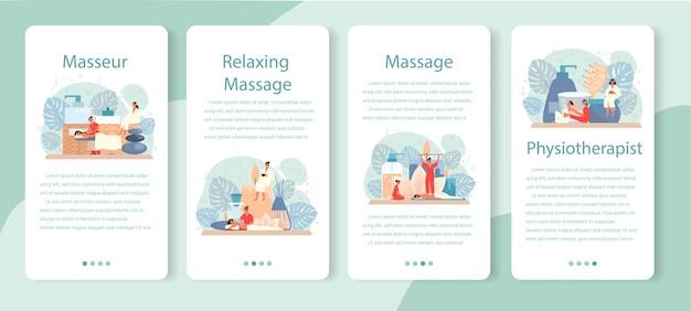 Conjunto de banner de aplicativo móvel de massagem e massagista.