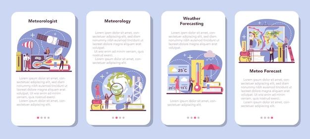 Conjunto de banner de aplicativo móvel de meteorologista
