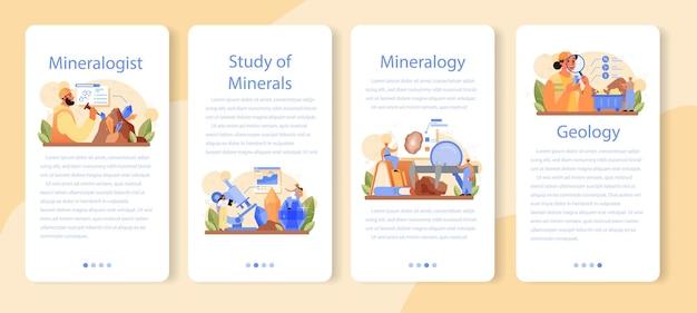 Conjunto de banner de aplicativo móvel de mineralogista. cientista profissional