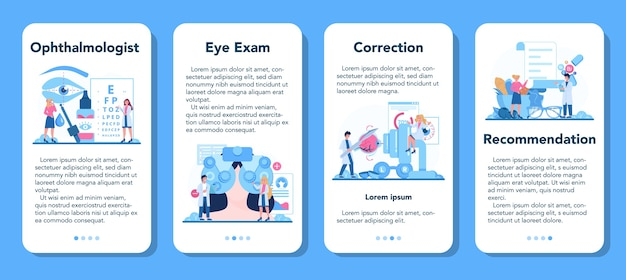 Conjunto de banner de aplicativo móvel de oftalmologista. ideia de exame oftalmológico e tratamento.