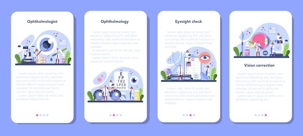 Conjunto de banner de aplicativo móvel de oftalmologista.