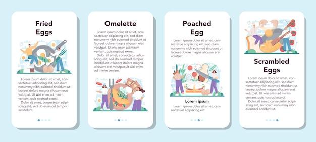 Conjunto de banner de aplicativo móvel de ovos fritos saborosos