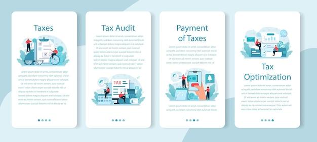 Conjunto de banner de aplicativo móvel de pagamento de impostos.