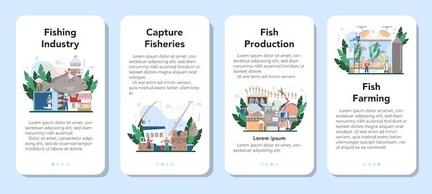 Conjunto de banner de aplicativo móvel de pesca industrial.