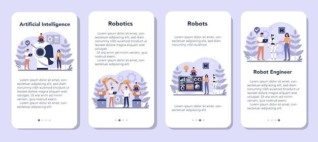 Conjunto de banner de aplicativo móvel de robótica. engenharia e programação de robôs. ideia de inteligência artificial e tecnologia futurista. automação de máquinas. ilustração em vetor isolada em estilo cartoon