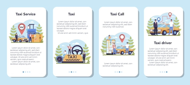 Conjunto de banner de aplicativo móvel de serviço de táxi. carro táxi amarelo. táxi com motorista dentro. ideia de transporte público da cidade. ilustração plana isolada
