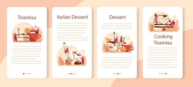 Conjunto de banner de aplicativo móvel de sobremesa tiramisu