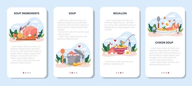 Conjunto de banner de aplicativo móvel de sopa de galinha. refeição saborosa e prato pronto. carne de frango, cebola e batata, ingrediente de cenoura. jantar caseiro ou almoço no prato. ilustração plana