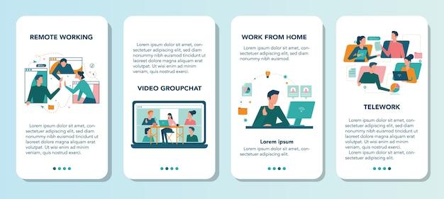 Conjunto de banner de aplicativo móvel de trabalho remoto. teletrabalho e terceirização global, funcionários trabalham em casa. distância social durante a quarentena do vírus corona.