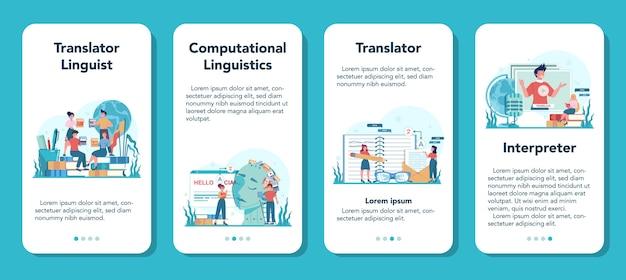 Conjunto de banner de aplicativo móvel de tradutor e serviço de tradução. traduzindo documentos, livros e discursos poliglotas. tradutor multilíngue usando dicionário.