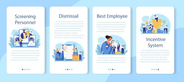 Conjunto de banner de aplicativo móvel de triagem de pessoal.