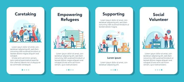 Conjunto de banner de aplicativo móvel de voluntário social