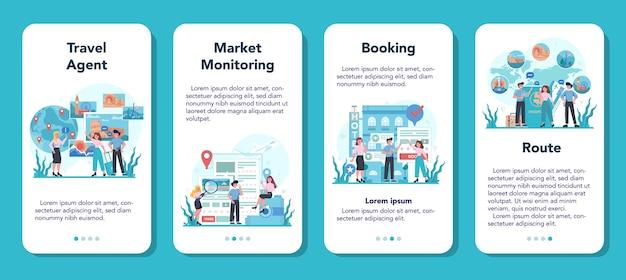 Conjunto de banner de aplicativo móvel do agente de viagens. tour de venda de trabalhador de escritório