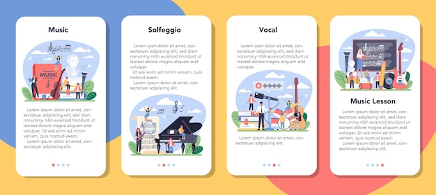 Conjunto de banner de aplicativo móvel do curso de educação musical